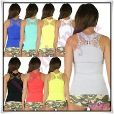 Sexy Ladies Embroidered Top Women's Summer Casual Tank Top One Size 6,8,10 UK