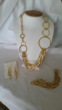 1AR by UnoAerre-18KT Gold Plated Geometric Round Oval Link 3 Piece Necklace Set