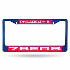 Philadelphia 76er NBA Blue Painted Metal Laser Cut License Plate Frame