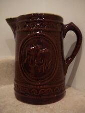 ANTIQUE VINTAGE STONEWARE COWS MILK WATER PITCHER BROWN GLAZE ROPE TWIST HANDLE