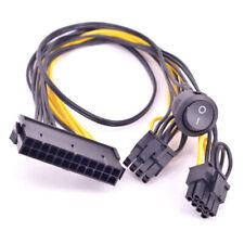 ATX 24Pin Female to Dual PCI express 6+2Pin 8Pin GPU 6Pin Male Port On Off Cable