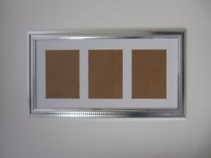 Two Tone Silver Multi Aperture Photo Picture Frame 8x16 Holds 4x6 Photos
