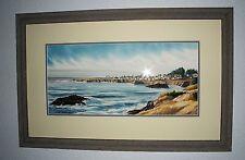 "Mendocino Coast Seascape Framed Original Watercolor Signed Liz James 41"" x 26"""