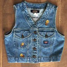 Vintage 80s Jordache Girlfriend Denim Vest Riveted Button Front Womens Size S