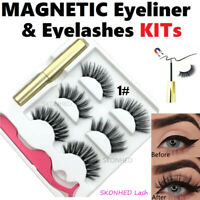 💙Magnetic Eyeliner with 3 Pairs Eyelashes with Tweezer Long Lashes Set 💙