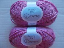 Deramores Tweedy DK wool blend yarn, Petunia Blast, lot of 2 (200 yds ea)