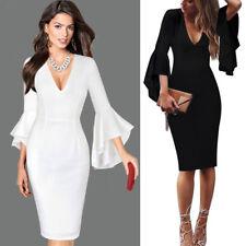 Damen Sexy Tiefem V-ausschnitt Flare Business Partykleid Bodycon Bleistift Kleid