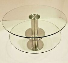 "2-Tier Modern 11"" Round Clear Glass & Brushed Silver Metal Cake & Dessert Stand"