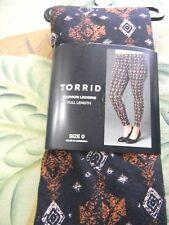 Torrid, Black/Brown/Beige/Orange  Leggings, Lost In Muyal, Sz.0 Full Len .28Insm