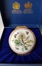 Halcyon Days Enamel Trinket Box Chelsea Plate Ehret Design Flowers Butterflies