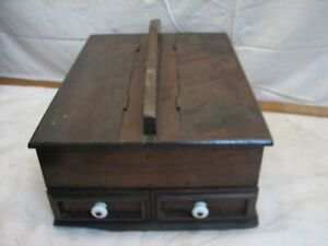 Antique Wooden Primitive Wood Handled Sewing Caddy Tote Primitive Box