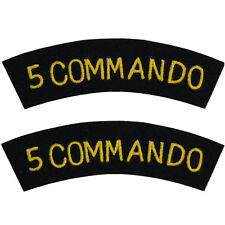 5 Commando - WW2 Repro British Navy Shoulder Titles Patch Badge Flash Sleeve New