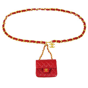 CHANEL Classic Flap Micro Bum Belt Bag Purse Red Lambskin Leather Vintage 71076