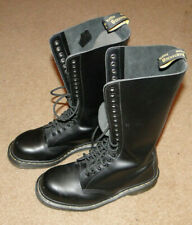 Dr Martens WOMENS 20 Eye tall lace up black leather knee high boots SIZE 9 NICE