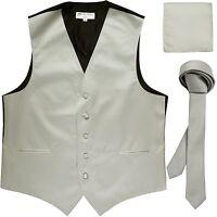 """New Men's Solid Tuxedo Vest Waistcoat & 1.5"""" Skinny Necktie Set Silver"""