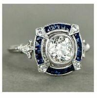 Vintage Art Deco 2.55Ct Round Cut Diamond 14k White Gold Antique Engagement Ring