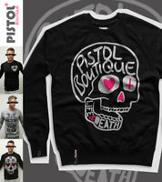Pistol Boutique men's Black DOODLE SKULL LIFE & DEATH Raglan Sweatshirt Jumper