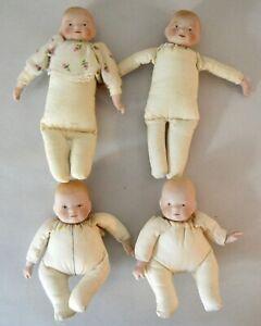 FOUR MINIATURE BYE LO BABIES REPRO BISQUE + CLOTH