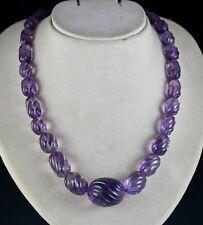 1LINE 740CTS NATURAL AMETHYST CARVED OVAL BEADS LADIES NECKLACE WITH SILVER HOOK