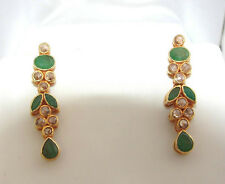 DIAMOND EMERALD DROP EARRINGS 22K GOLD REDUCED