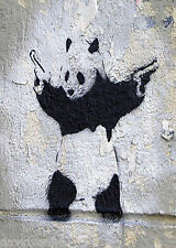 Gangster Panda Banksy Graffiti street Art Canvas ACEO Print
