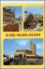 KARL-MARX-STADT CHEMNITZ DDR 1983 Straße d. Nationen, Interhotel, Stadthalle