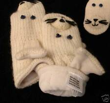 SEAL MITTENS knit ADULT sea lion White LINED animal deLux Ski cap HAT SEPARATE
