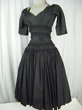 """""""Suzy Perette""""Vtg Early 50s Black Buttons Fringes Full Dress-Bust 36/ XS-S"""