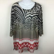 Easywear Chicos Cheetah Leopard Print Shirt Top Blouse Elbow Sleeve Sheer XL 3