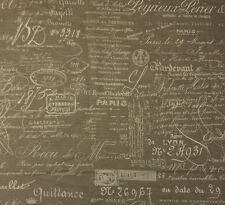 "BALLARD DESIGNS DOCUMENT NATURAL FRENCH SCRIPT DESIGNER FABRIC 1.5 YARD 55"" W"