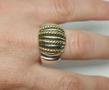 "Rope Graduated Design Ring Sz 9 Mexico Vtg Sterling Silver 1/2"" H Ribbed Brass"