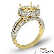 1.4Ct Diamond Engagement Ring Round Semi Mount 14k Yellow Gold Halo Pave Set