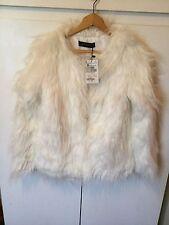 NWT ZARA White Faux Fur Fluffy Jacket- Fits Uk 10- Gorgeous!