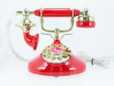 Red & Gold Vintage French Retro Style Rotary Dial Phone with Twisted Phone Cord