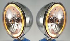 "Pair Chrome Dietz 7"" Halogen Headlights Lamps w/ Amber LED Halo Ring Lights"
