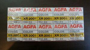 10 agfa film xr 200i 110-24 POCKET 24 SEALED EXPIRED 1989 camera color