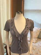 J. Crew Gray Ruffle Short Sleeve Linen Silk Cardigan Sweater Small Nice