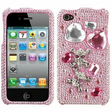 For iPhone 4 4S Crystal Diamond 3D BLING Hard Case Phone Cover Playful Skull
