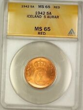 1942 Iceland 5A Five Aurar Copper Coin ANACS MS-65 Red GEM BU (C)