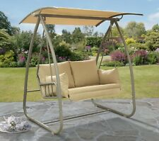 More details for 2 seat garden swing quality luxury swing white or grey frame rrp £300+