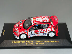 RALLY 1/43 IXO PEUGEOT 206 WRC BASTOS BRUNO THIRY ANTIBES RALLYE 2003 BELGA RARE