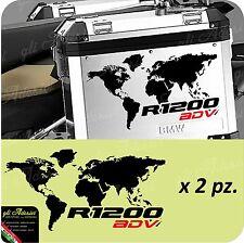 2 Adesivi Stickers Planisfero Moto NEW BMW R 1200 LC gs valigie ADV Rosso