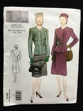 Vogue Vintage Pattern 2199 1940s Princess Seam Jacket & A-Line Skirt 10 Uncut