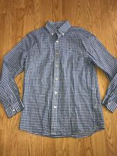 Boys Vineyard Vines Blue Plaid Button Down Long Sleeve Shirt Medium 12-14 Euc