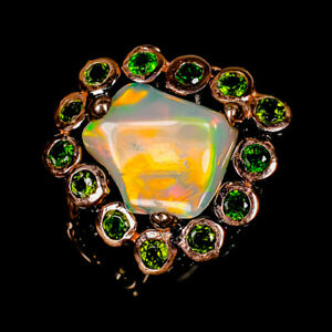 Opal Ring Silver 925 Sterling Stunning Rough gem Size 8.75 /R148970