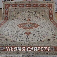 Yilong 11'x15' Oversize Wool Silk Area Rugs Indoor Carpet Handmade For Sale 1511