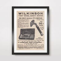 BATHROOM ART PRINT POSTER Room Advert Decor Vintage Men's Shaving Razor Toilet