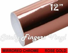 """Rose Gold CHROME Adhesive Permanent Vinyl 12"""" x 24"""" Decals Crafts Mirrored"""