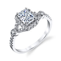 925 Sterling Silver Radiant CZ Engagement Wedding Ring Set with Cubic Zirconias