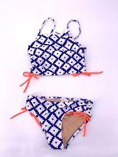 Crewcuts by J.Crew Kids L4119 White Blue SZ Block prints Bikini Set Size 6-7
